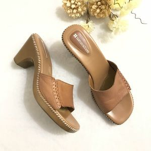 Naturalized brown leather slip ons 8M